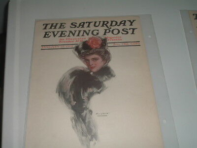 1908 January 25 Saturday Evening Post Magazine Illustrated Cover Ready To Frame