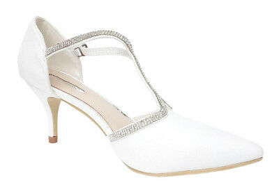 White Diamante Pointed Toe Shiny Wedding Heels Sandals T-Bar Bridal Prom Shoes