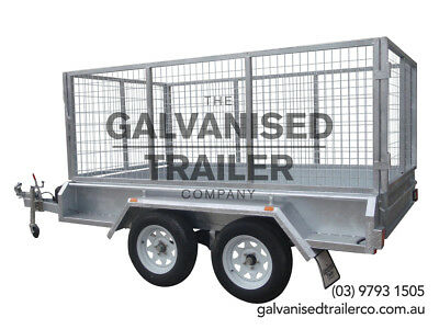 9x5 Tandem Trailer Galvanised Heavy Duty With 300mm Sides & 1000mm Mesh Cage
