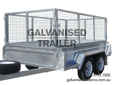 9x5 Tandem Trailer Galvanised Heavy Duty With 410mm Sides & 800mm Mesh Cage
