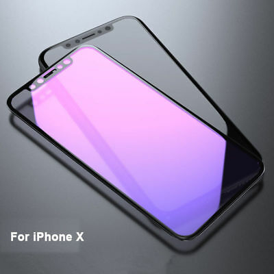For iPhone X Anti Blue-Ray 3D Curved 9H+ Tempered Glass Flim Screen Protector