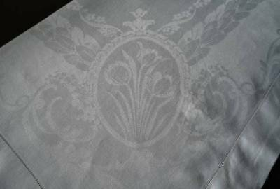 Antique Linen Damask Tablecloth Tulips & Laurel Leaves Wide Hemstitch 84""