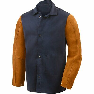 FR Split Cow Leather Welding Jackets Flame Retardant Welder Clothing