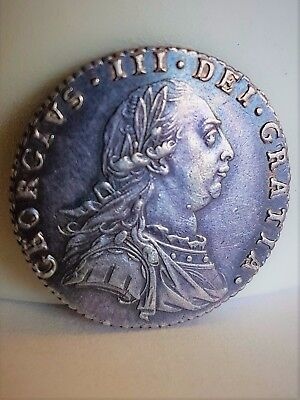 Rare a UNC 1787 George III Silver Sixpence 6d Coin Rainbow Lustre No Hearts