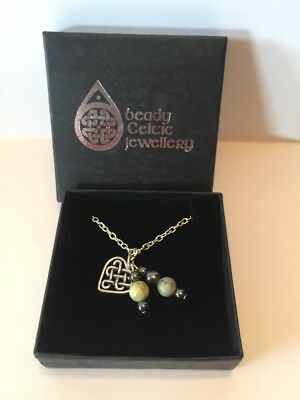 NIB Beady Celtic Jewellery Connemara Marble Beaded Heart Knot Drop Necklace 16""