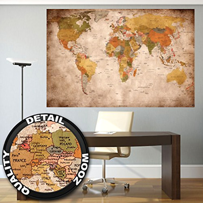 Oversized world map extra large school globe wall poster antique giant world map wall home art decor decal extra large vintage school poster old gumiabroncs Choice Image