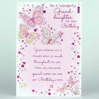Granddaughter Birthday Card With Insert On Your Birthday