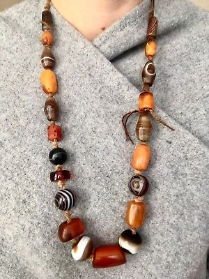 ANCIENT ANTIQUE Agate Bead Necklace Chung Dzi AMBER SULEIMANI BAKELITE SOLOMON
