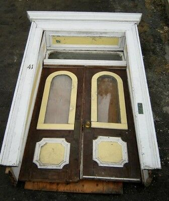 "c1900 double door entrance set late victorian farmhouse 81"" x 29"" doors frame"