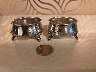 Stunning Pair Of Antique Continental Bright Cut Silver Salt Dishes