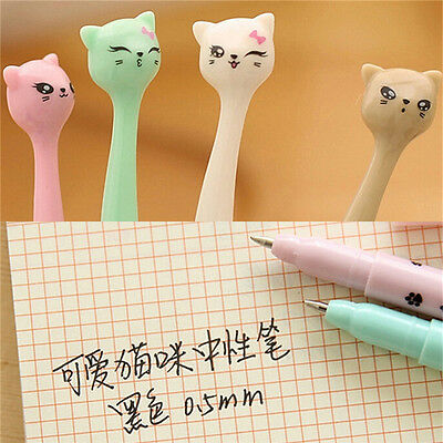 5X Cute Cat Random Kawaii Fun pens black Gel ink Roller Ball Point Pen Set RDKJ