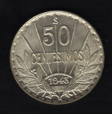 Uruguay 50 Centesimos  1943, Silver Xf. Condition