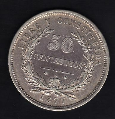 Uruguay 50 Centesimos  1877, Silver  Vf+. Condition