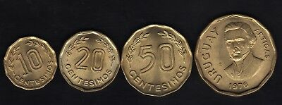 Uruguay Series 1976, 10,20,50 Centesimos  And 1 Peso , Al-Bronze, Unc Condition
