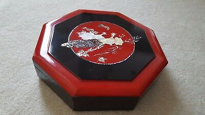 """Black and red lacquered mother of pearl octagonal box, 10"""", from South Korea"""