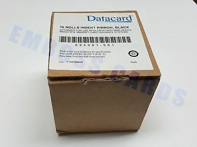New 10 ROLLS DATACARD 9000 MX6000 MAXSYS Black Rear Indent Ribbon PN 804091-001