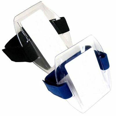 Arm Band Photo ID Card Badge Holder Vertical w/ Black or Blue Strap - 10 PACK