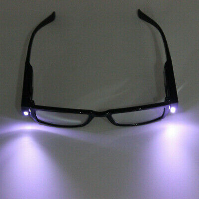 1.0 to 4.0 Unisex Rimmed Reading Glasses Presbyopic With LED Light Power Diopter