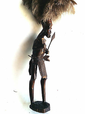 """Hand Carved Wooden African Tribal 22"""" Warrior Statue Figurine Ebony Wood Carving"""