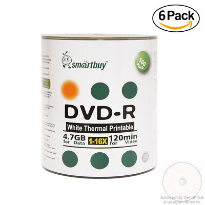 600 Pack Smartbuy 16X DVD-R 4.7GB White Thermal Printable Data Storage Discs