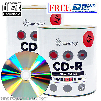 200-Pack SmartBuy Blank CD-R 52X 700MB/80Min Recordable Disc w/ Shiny Silver Top