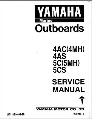 Yamaha 4AC 4MH 4AS 5C 5MH 5CS 2-Stroke Outboard Motors Service Manual CD
