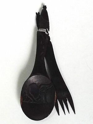 Hand Carved Wooden Salad Spoon & Fork African Ebony Wood Carving Art Decor Nos