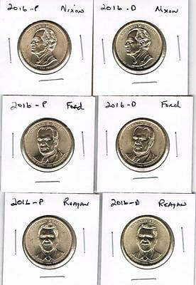 2016 P&d Presidential Dollar Set - All 6 Coins Unc. From U.s.mint Rolls