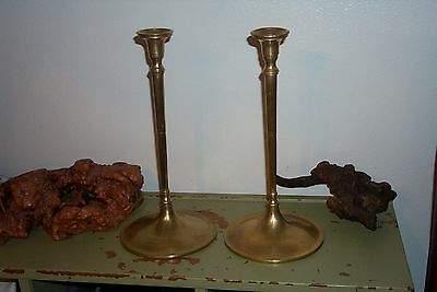 "Antique PAIR BRASS Bronze CANDLESTICKS  ARTS & CRAFTS MOVEMENT 14.25"" Mission"