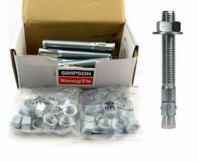 """(20 Pack) Simpson Strong Tie WA62500 5/8"""" x 5"""" Wedge Anchor 3-3/8-Inch Thread"""