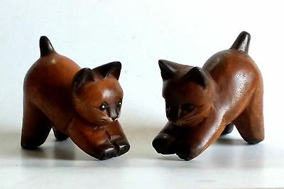 Hand Carved Wooden Cats Set Of 2 Figurines Teak Wood Carving & Painted Decor Nos