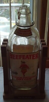 Vintage Beefeater Dry Gin Gallon Bottle Decanter w/ Wood Metal Stand For Pouring