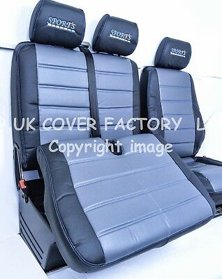VW CRAFTER VAN SEAT COVERS WHITE LEATHERETTE WHITE STITCH TAILORED P100WT