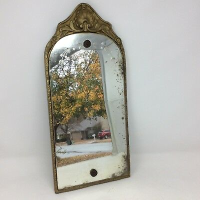 Vintage Antique Ornate Wall Mirror Wood Carved Shell Motif Curved Top Etching