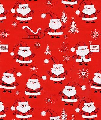 Vintage 1960s MID CENTURY SANTA Christmas Gift Wrap, Wrapping Paper, NOS #17