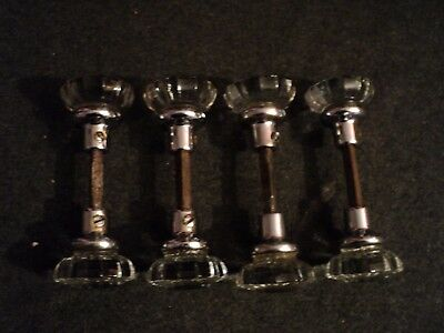 vintage chrome glass door knobs spindles rod 8 knobs 4 pairs 12 sided