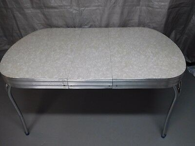 """Mid -Century """"Cracked Ice"""" Chrome & Formica Kitchen Table w/1 Leaf (no chairs)"""