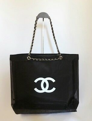 Chanel beauty VIP GIFT mesh tote beach bag with chain