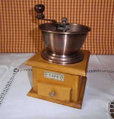 Vintage French Wood and Copper Coffee Spices  Grinder
