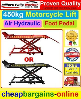 MOTORCYCLE LIFT MOTORBIKE HOIST TABLE LIFTER BIKE STAND 454Kg CAP AIR HYDRAULIC