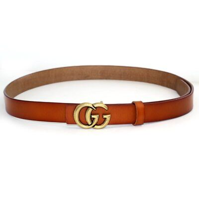 Womens Genuine Leather Thin Belts For Jeans 0.9″ Wide With Letter Buckle ,Brown