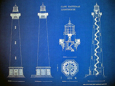 "Cape Hatteras North Carolina Lighthouse 1870 Blueprint Plan 24""x18"" PlanB (265b)"