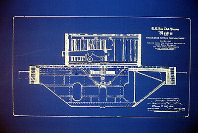 "US Civil War USS Monitor Gun Turret Blueprint Plan 20""x27"" (046)"