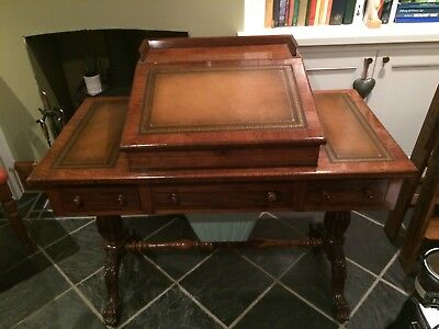 Antique William IV Rosewood Desk with silk working box and sloping writing top.