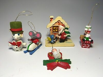 Vintage Lot of 5 Wooden Christmas Ornaments Hand Painted Santa Mouse - Japan