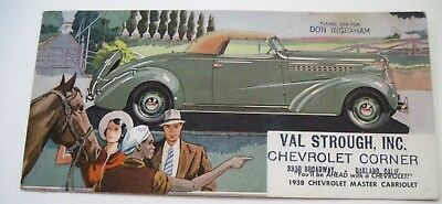 "1938 Vintage Advertising Blotter for ""Val Strough, Inc."" Chevrolet Corner  *"