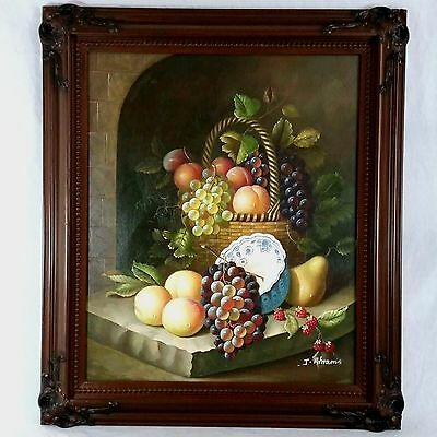 Original Fruit Still Life Signed J. Abrams or Ahrams Framed Canvas Oil Painting