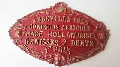 Vintage Metal French Trophy Award Sign Agricultural Competition Plaque 1953