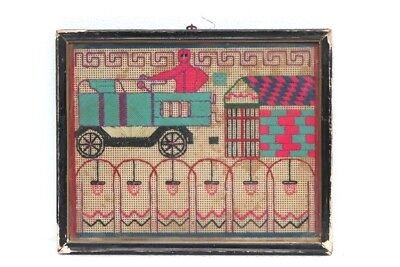 Old Vintage Rare Handmade Cotton Work Frame Scenery Decorative Collectible G-34