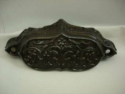 Vintage Ornate Cast Iron Cup Handle Cupboard Drawer Pull 4 wide #15